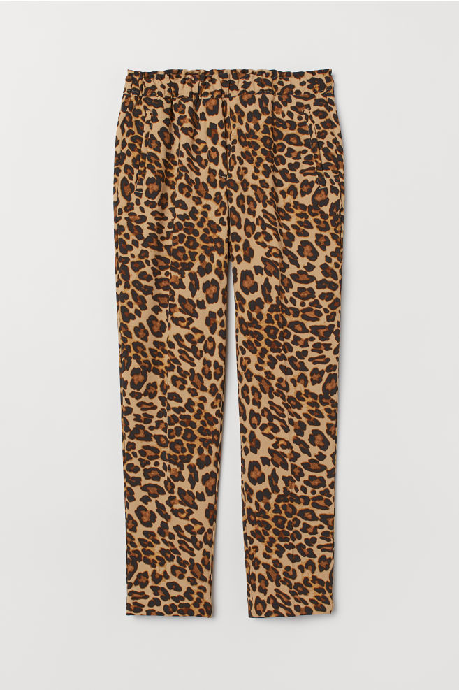 e91eb9c55bac Pull-on Pants - Beige/leopard print - Ladies | H&M ...
