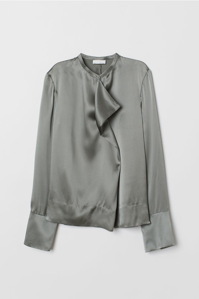 d96634e447dc04 ... Silk blouse - Olive green - Ladies