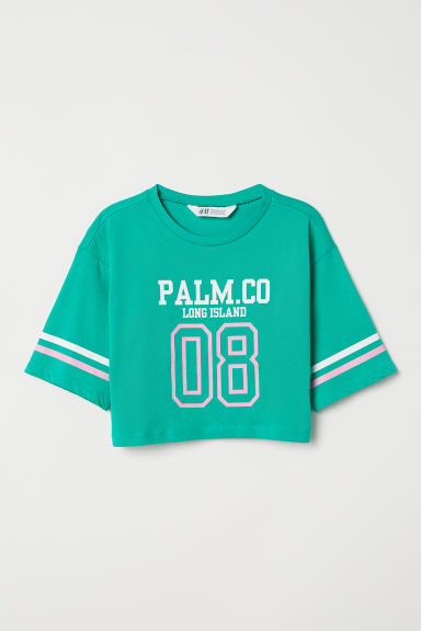 Short printed top - Green/Palm.Co - Kids | H&M