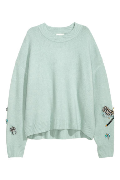 Knitted beaded jumper - Light turquoise/Dragonfly - Ladies | H&M GB