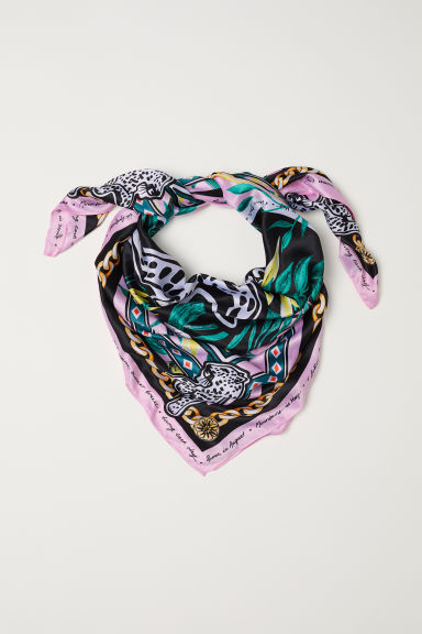 Patterned satin scarf - Pink/Patterned - Ladies | H&M CN