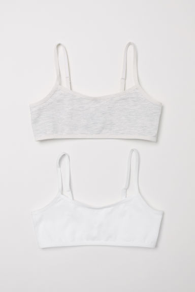 2-pack crop tops - Grey marl/White -  | H&M