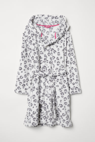 Fleece dressing gown - White/Leopard print - Kids | H&M