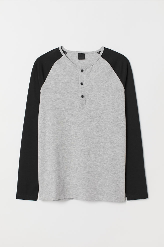 a7b7aef5 Long-sleeved top Muscle Fit - Light grey marl/Black - | H&M GB