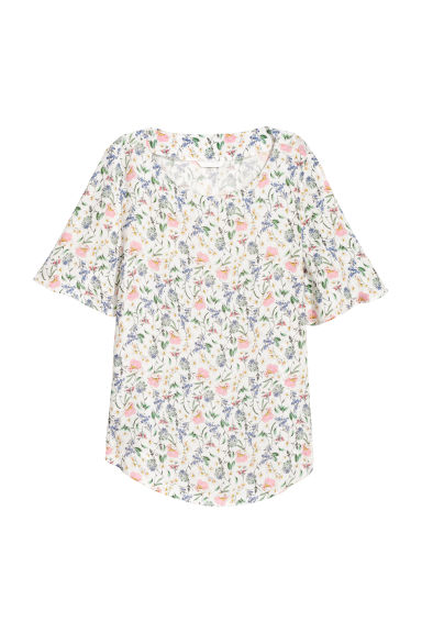 Trumpet-sleeved blouse - White/Multicoloured - Ladies | H&M