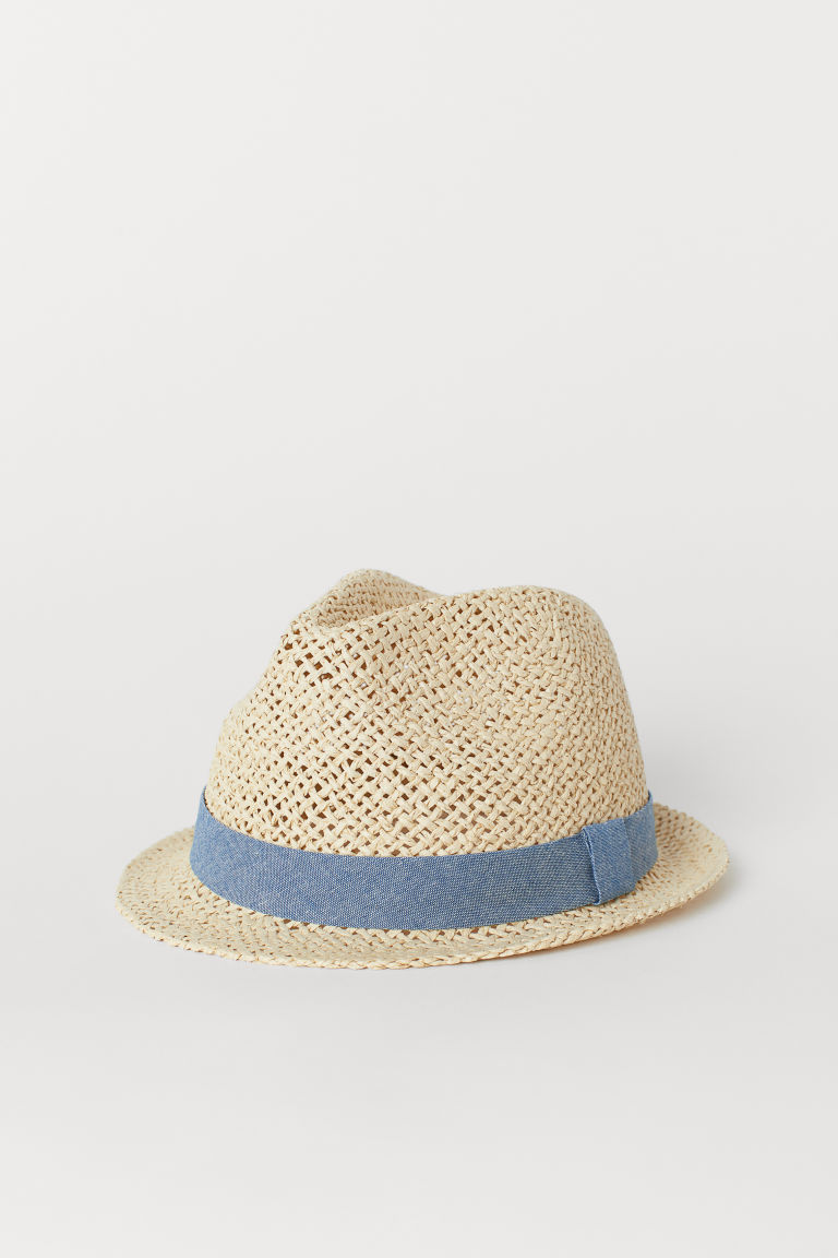 Cappello in paglia - Naturale/blu chambray - BAMBINO | H&M IT