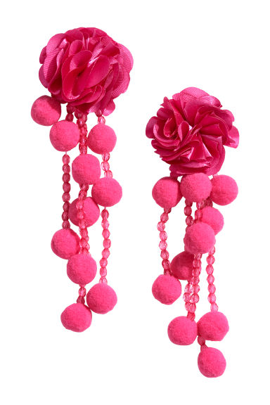 Pompom earrings - Pink - Ladies | H&M CN