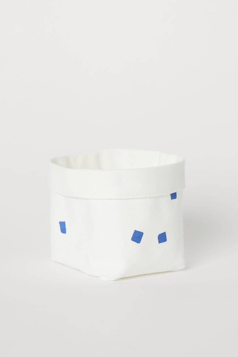 Small canvas storage basket - White/Blue - Home All | H&M CN