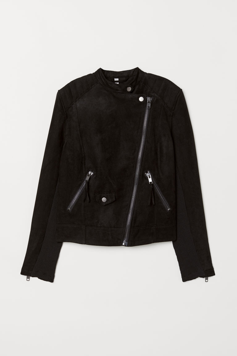 Biker jacket - Black/Imitation suede -  | H&M