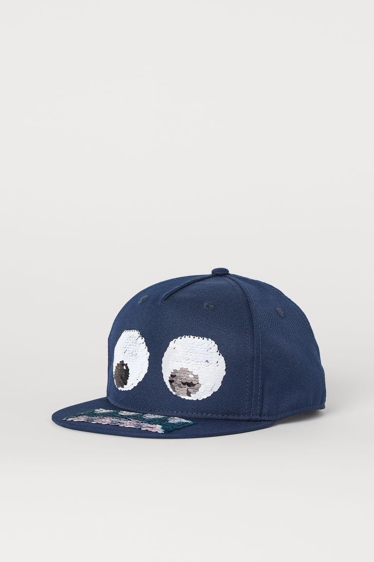 Cap with reversible sequins - Dark blue/Monster - Kids | H&M
