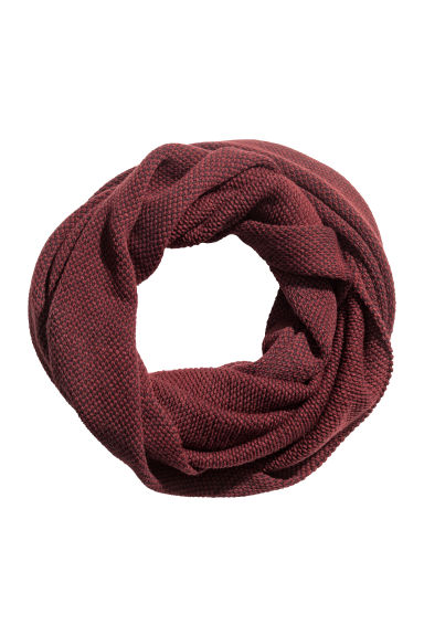 Knitted tube scarf - Burgundy -  | H&M IE