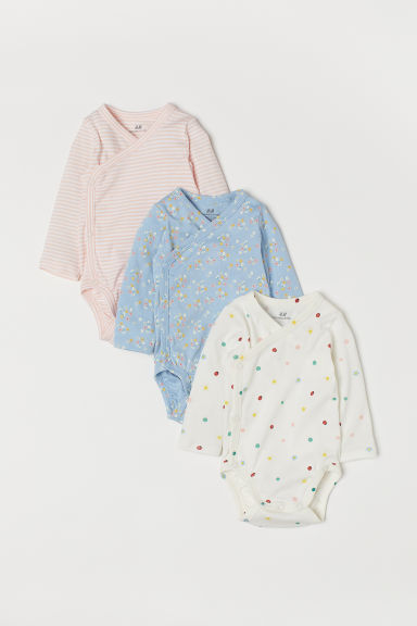 3-pack long-sleeved bodysuits - Light blue/Floral - Kids | H&M IN
