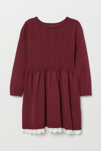 Fine-knit dress - Dark red - Kids | H&M
