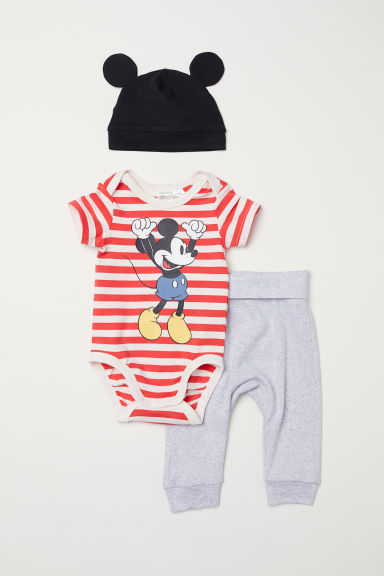 3-delige katoenen set - Rood/Mickey Mouse - KINDEREN | H&M BE