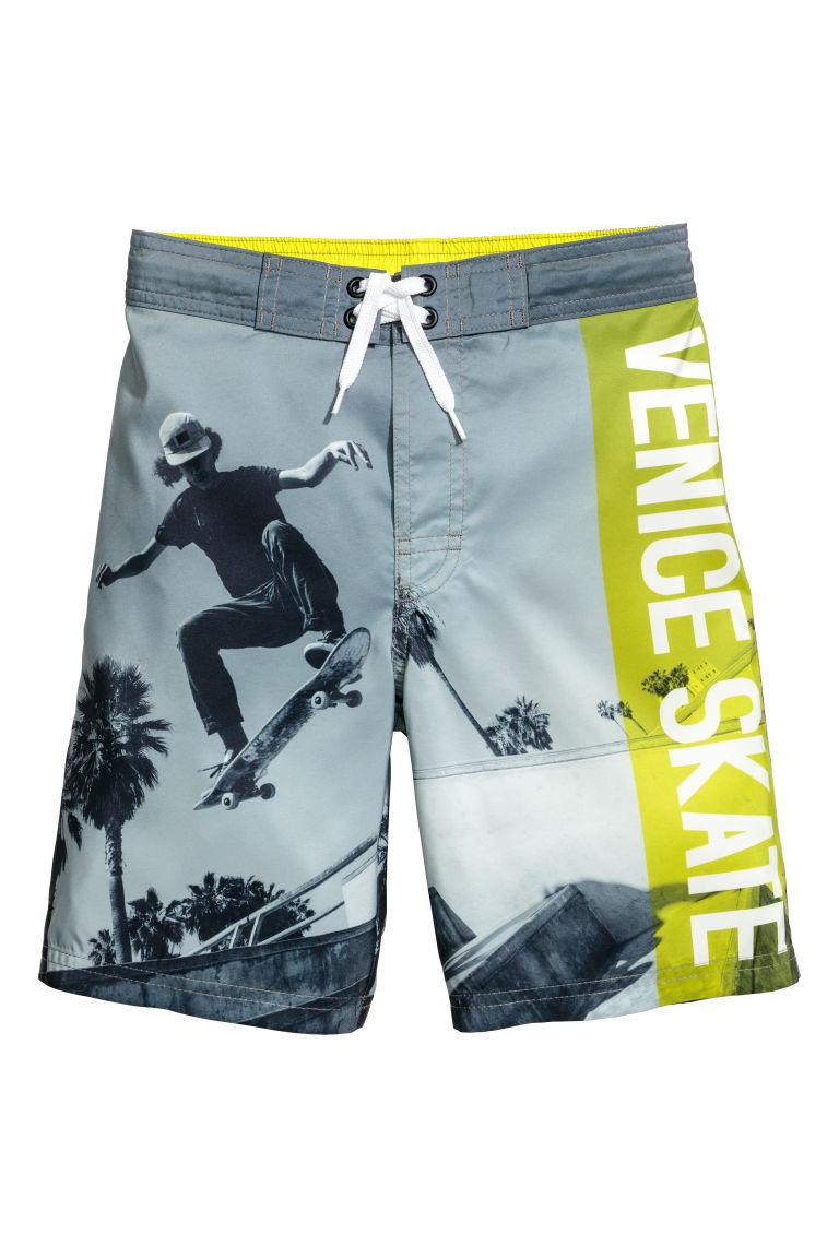 Printed swim shorts - Grey/Venice - Kids | H&M GB