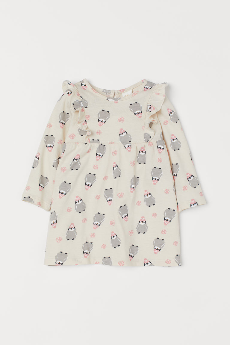 프릴 드레스 - Light beige/Penguins - Kids | H&M KR