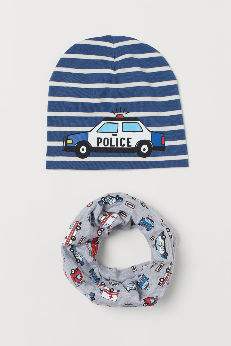 Hat and tube scarf - Light grey/Emergency vehicles -  | H&M