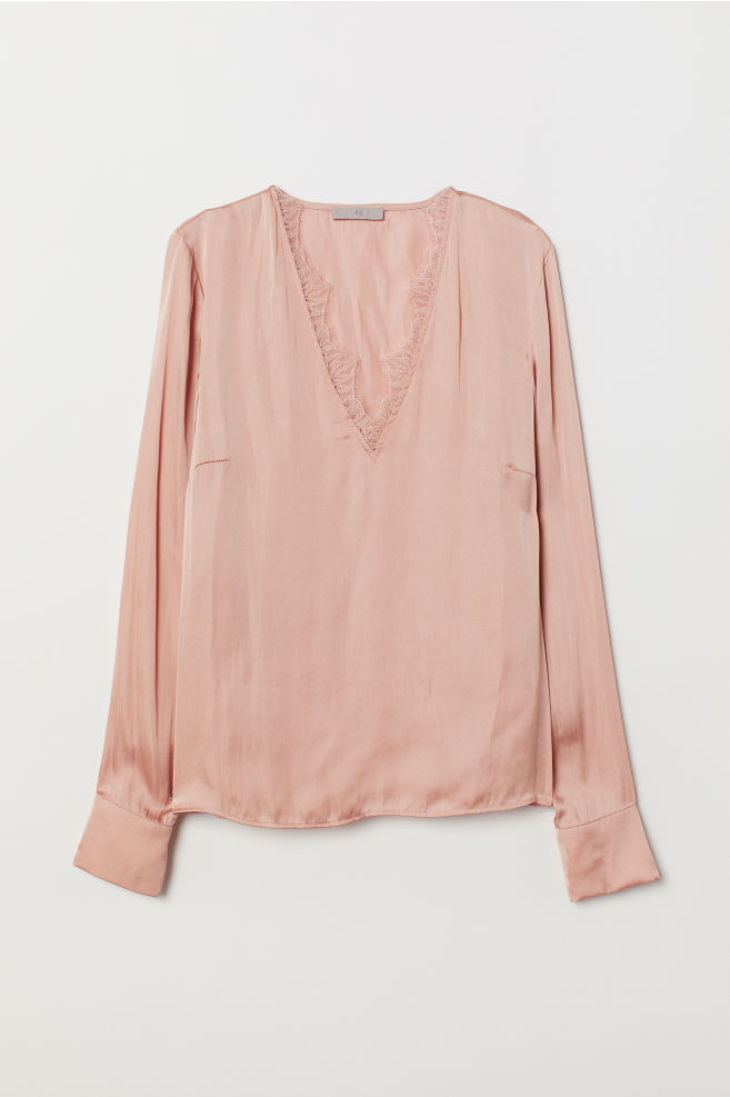 82f1ef75e1fbd ... Satin blouse with lace - Powder pink - Ladies