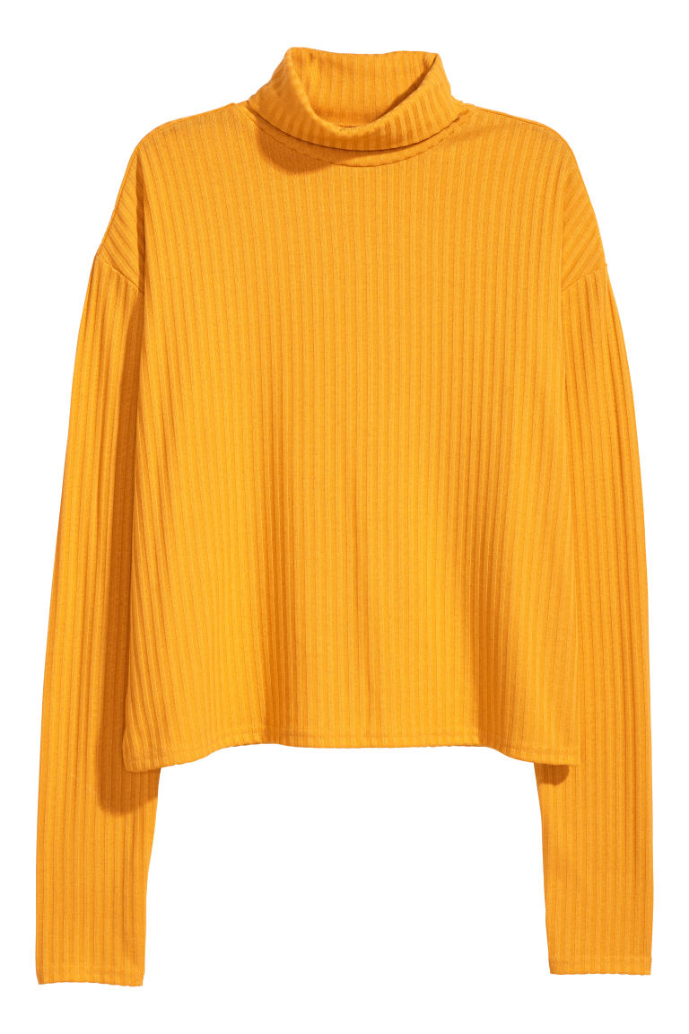 Ribbed polo-neck jumper - Yellow - Ladies | H&M GB
