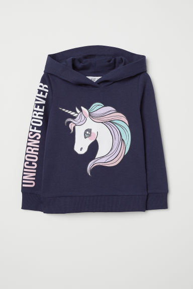 Printed hooded top - Dark blue/Unicorn - Kids | H&M