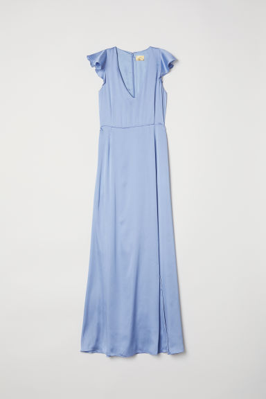 Satin maxi dress - Pigeon blue - Ladies | H&M