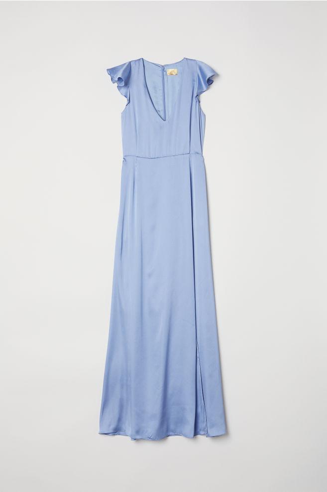 9c273b6ec78d Satin Maxi Dress - Pigeon blue - Ladies   H&M ...