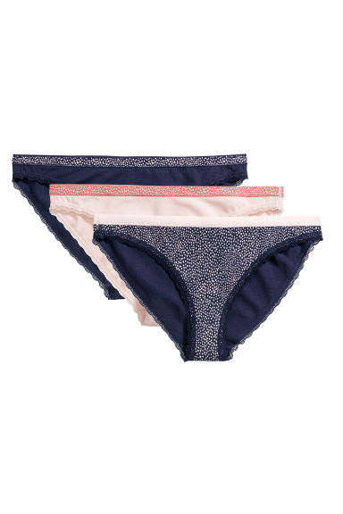 3-pack cotton bikini briefs - Dark blue/Powder pink - Ladies | H&M CN