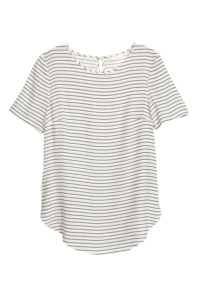 Short-sleeved blouse - Natural white/Striped - Ladies | H&M CN