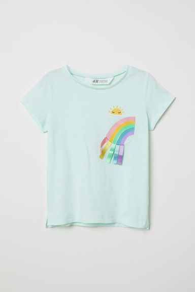 Jersey top with appliqué - Light turquoise/Rainbow - Kids | H&M