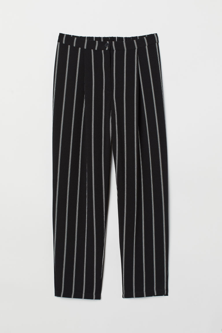 Ankle-length trousers - Black/Striped -  | H&M