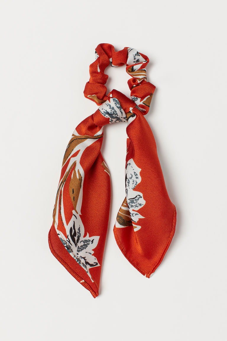 Scrunchie with Scarf Detail - Dark orange/patterned - Ladies | H&M CA