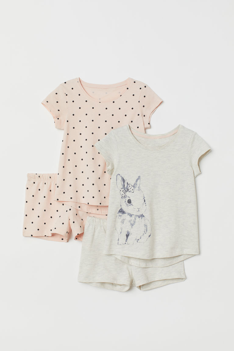 2-pack jersey pyjamas - Light grey marl/Rabbit - Kids | H&M