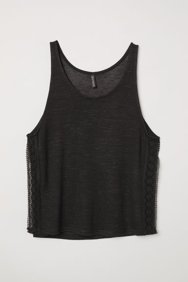 Lace-trimmed vest top - Black -  | H&M