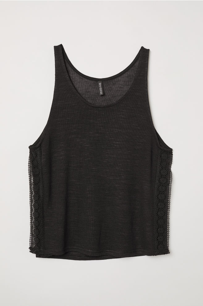 b32c3ed3b94ee6 Lace-trimmed Tank Top - Black -
