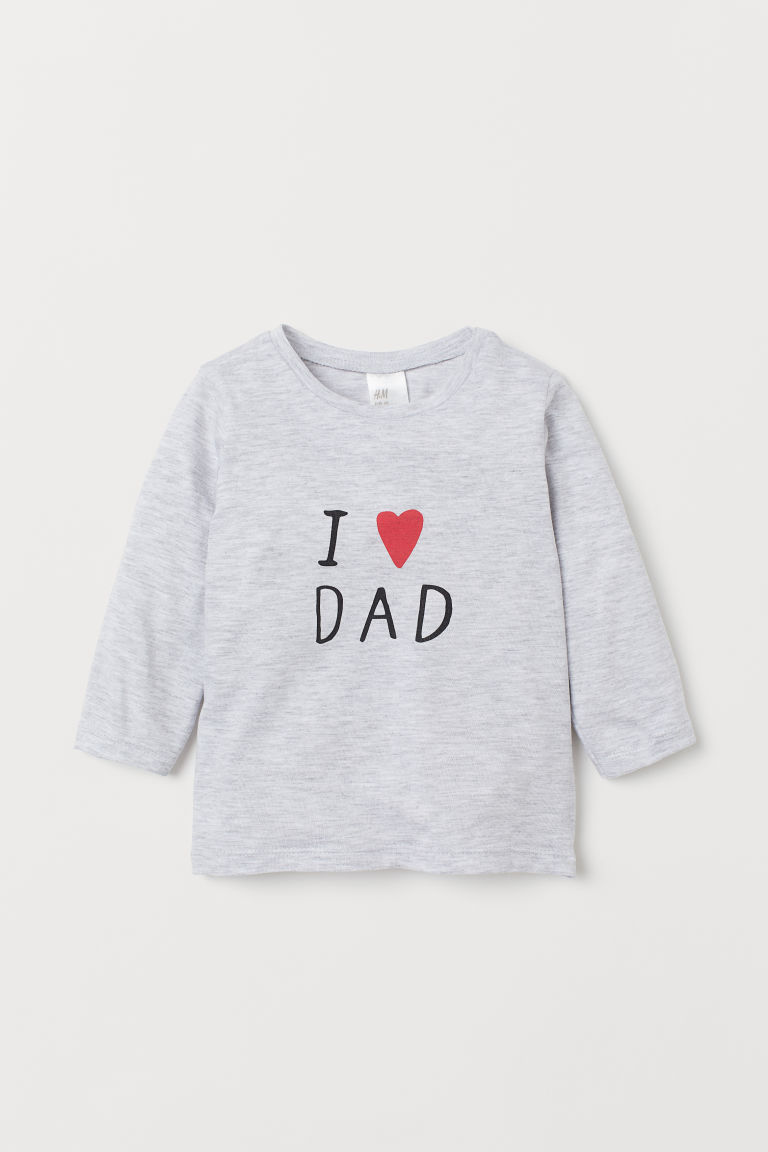 長袖上衣 - 淺灰混色/I Love Dad - Kids | H&M