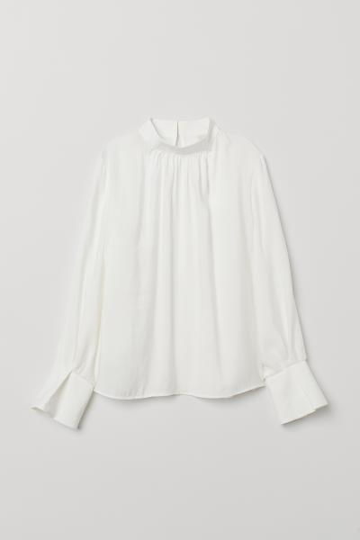 f00fb69ab Blouse with a stand-up collar - White - Ladies | H&M 1