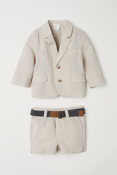 Linen-blend jacket and shorts - Light beige -  | H&M