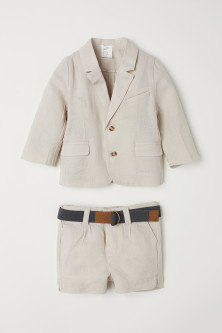 Linen-blend jacket and shorts