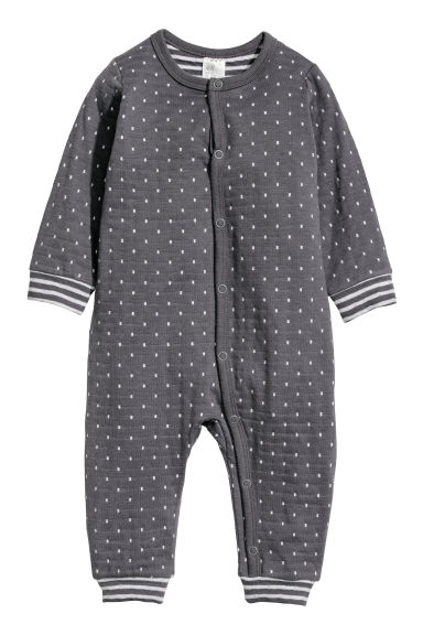 Cotton all-in-one pyjamas - Dark grey/White spotted - Kids | H&M CN