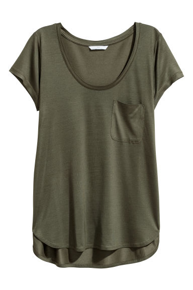 Jersey top - Khaki green -  | H&M