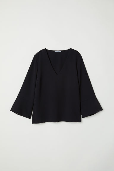 V-neck blouse - Black -  | H&M CN