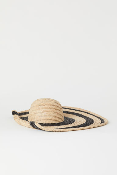 Striped straw hat - Natural/Black - Ladies | H&M CN