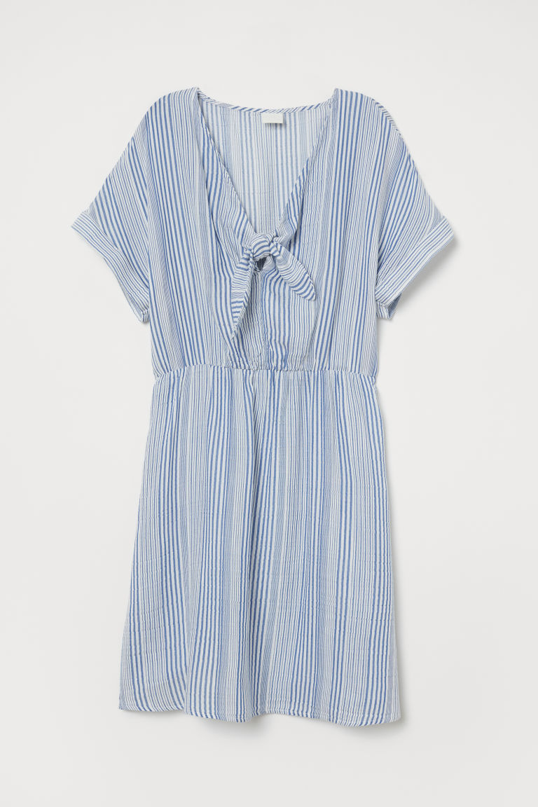V-neck tie-front dress - White/Blue striped - Ladies | H&M