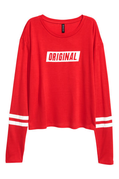 Printed jersey top - Red - Ladies | H&M