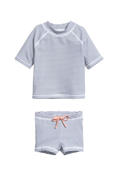 Swim set with UPF 50 - White/Blue striped - Kids | H&M CN