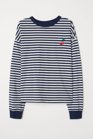 Striped jersey top - Dark blue/Striped -  | H&M