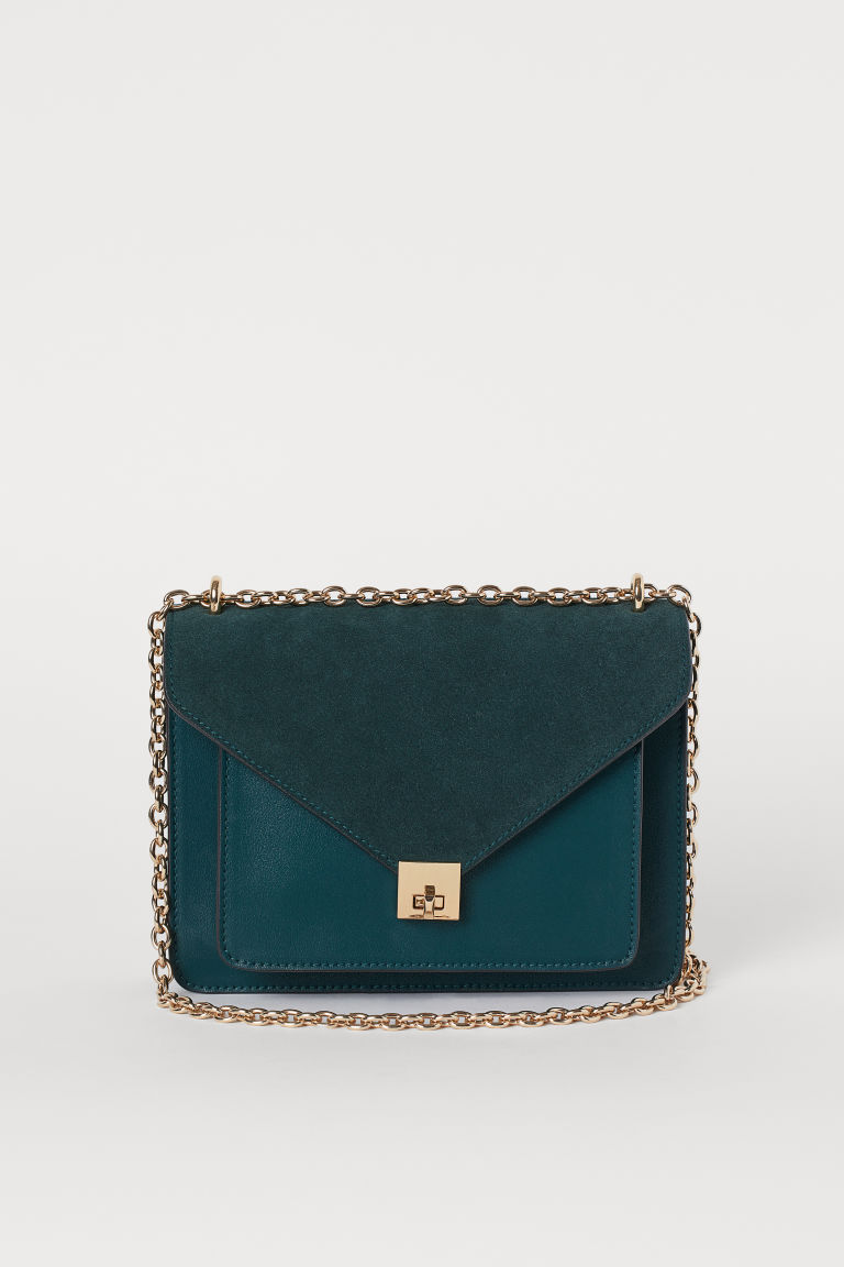 Shoulder bag with suede detail - Dark green - Ladies | H&M