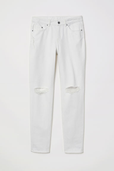 Boyfriend Slim Low Jeans - White denim -  | H&M