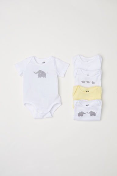 6-pack short-sleeved bodysuits - Light yellow/Elephants - Kids | H&M