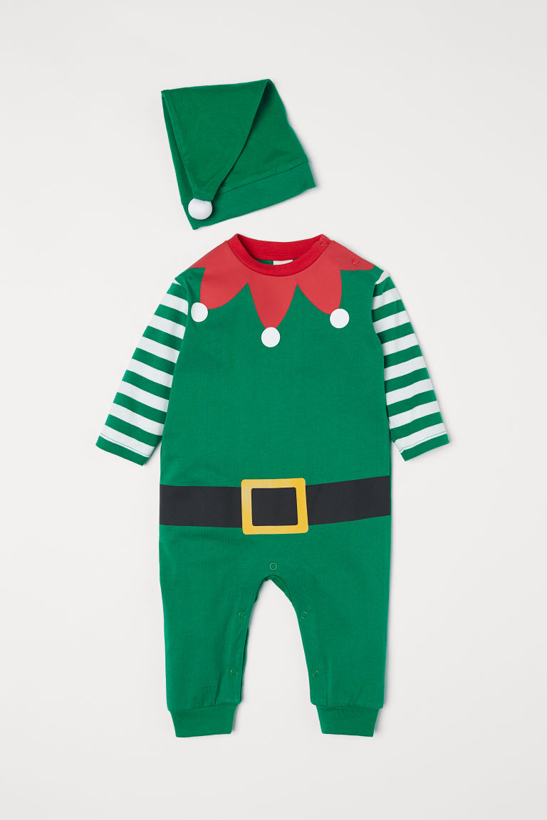 2-piece jersey set - Green/Christmas elf - Kids | H&M